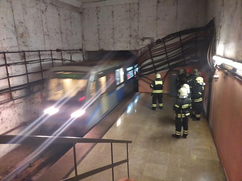 Пожарные ПСО № 204 потушили условный пожар на станции Московского метрополитена